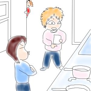 料理の用意をするちぃぽんとまるこ
