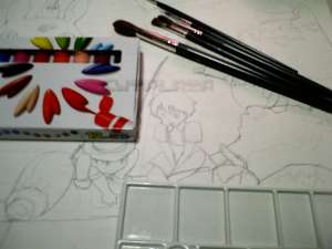 トトロの絵の進行1「絵の描く為の道具をそろえる」
