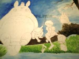 トトロの絵の進行2「色のあたりをつける」