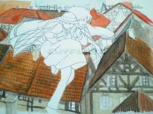 「ハウルの動く城」の絵の背景の家の色塗り