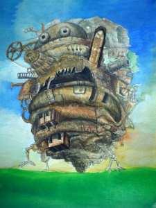 【画像】ハウルの動く城の絵の背景色塗り「日の入り前の感じに」