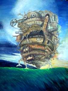 【画像】ハウルの動く城の絵の背景色塗り「空を暗転させ暗く色づけ」