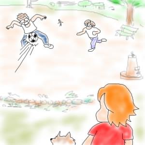 球に玉砕「ある日のサッカー小僧」